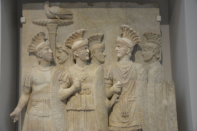A bust of some of the Praetorian guard.  Source: http://www.flickr.com/photos/michaelcjones/9141795998/