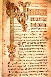 7th-century English Book of Durrow: the Gospel of Mark.  Source: http://upload.wikimedia.org/wikipedia/commons/f/f3/BookOfDurrowBeginMarkGospel.jpg